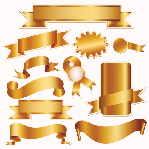 free vector Gold ribbon and christmas icon vector sales