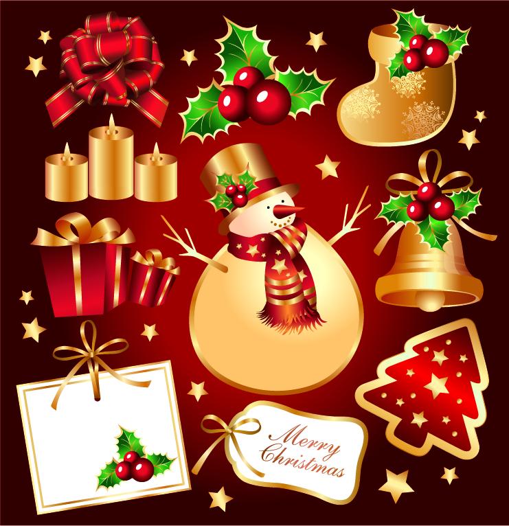free vector Golden christmas element vector