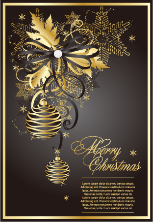 free vector Golden christmas theme vector 3