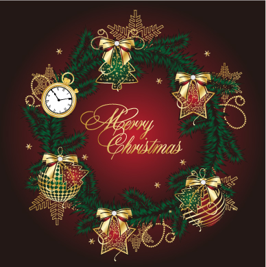free vector Golden christmas theme vector 5
