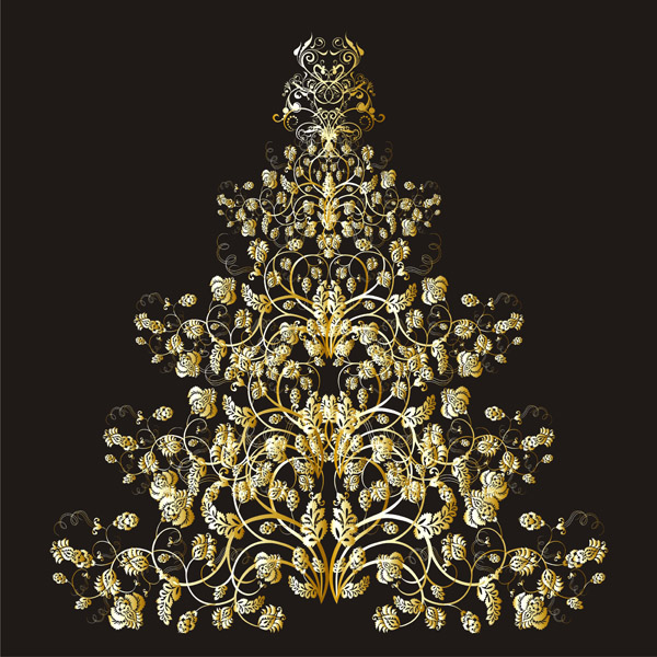 Golden Christmas Tree 25229 Free Ai Eps Download 4 Vector
