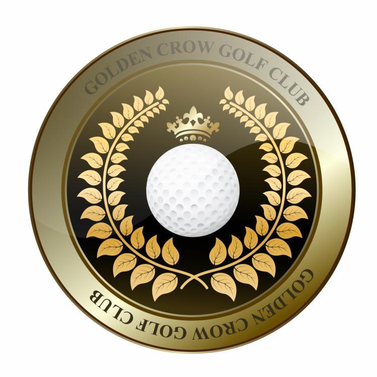 free vector Golden crown golf club shield