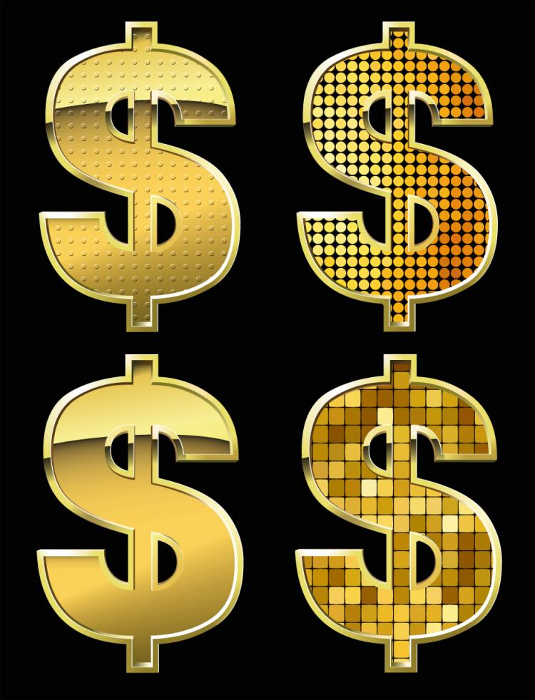 free vector Golden dollar sign vector