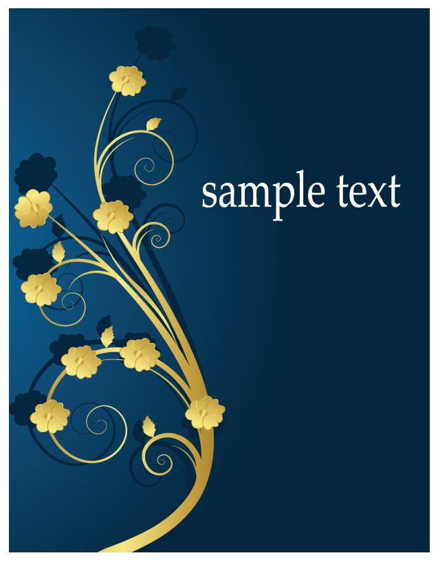 free vector Golden flower pattern vector