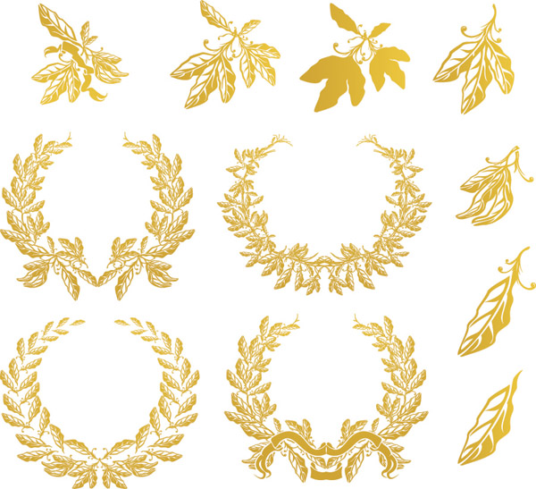 free vector Golden olive branch vector