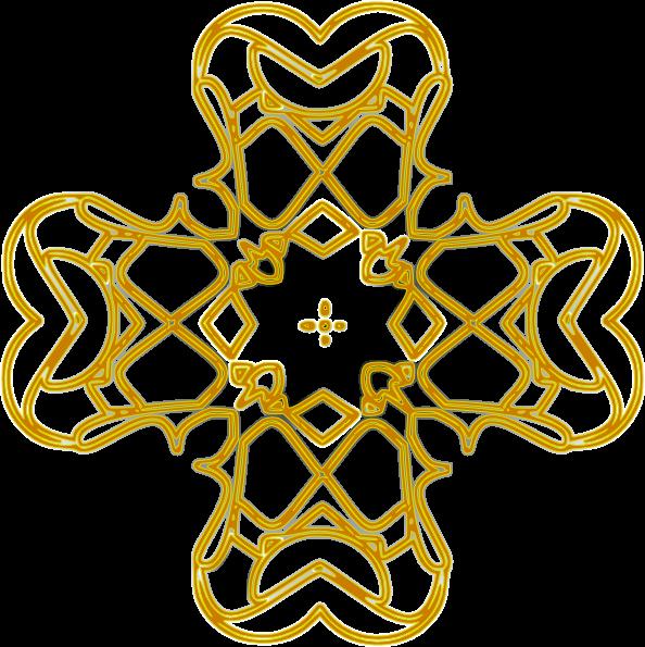 free vector Golden Rounded Cross Outline clip art
