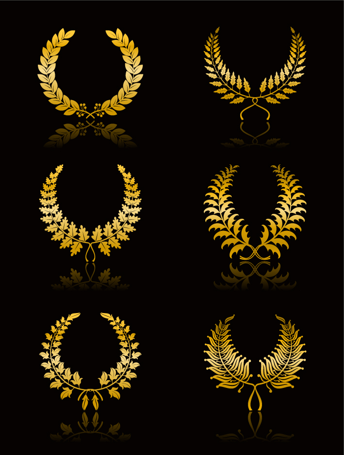 free vector Golden wheat crown vector clip wings