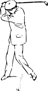 free vector Golfer At The Top Of The Stroke clip art
