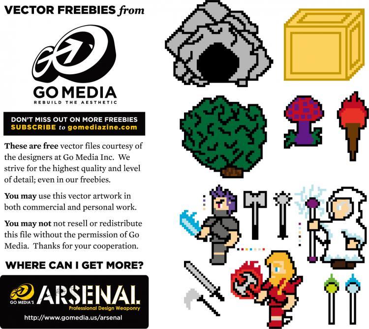 free vector Gomedia pixel art vector material