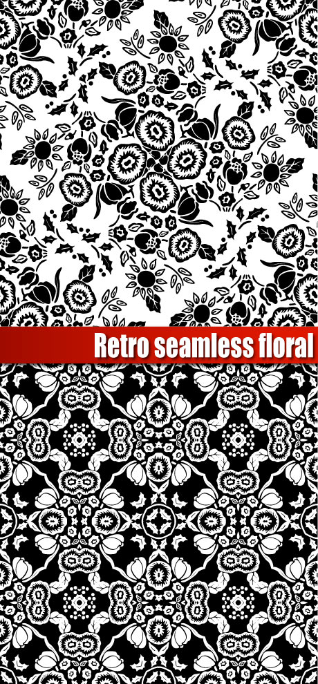 free vector Gorgeous black and white silhouette pattern vector