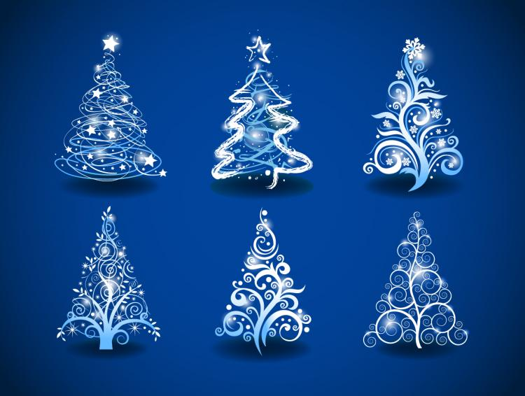 free vector Gorgeous christmas tree 01 vector