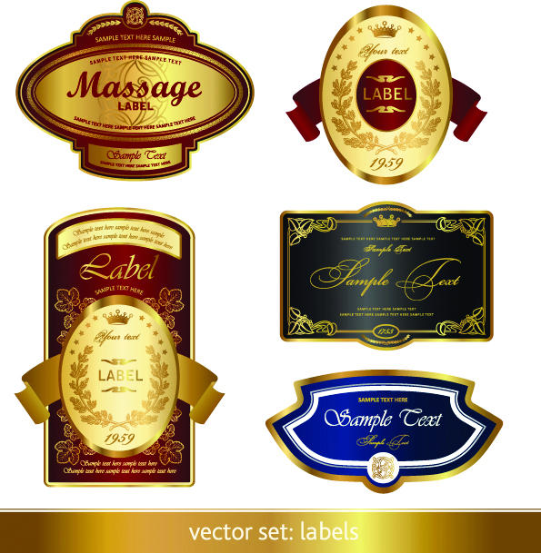 free vector Gorgeous classic bottle label 02 vector