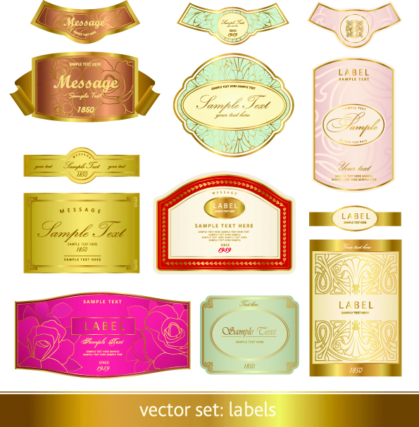 Gorgeous classic bottle label 03 vector Free Vector / 4Vector