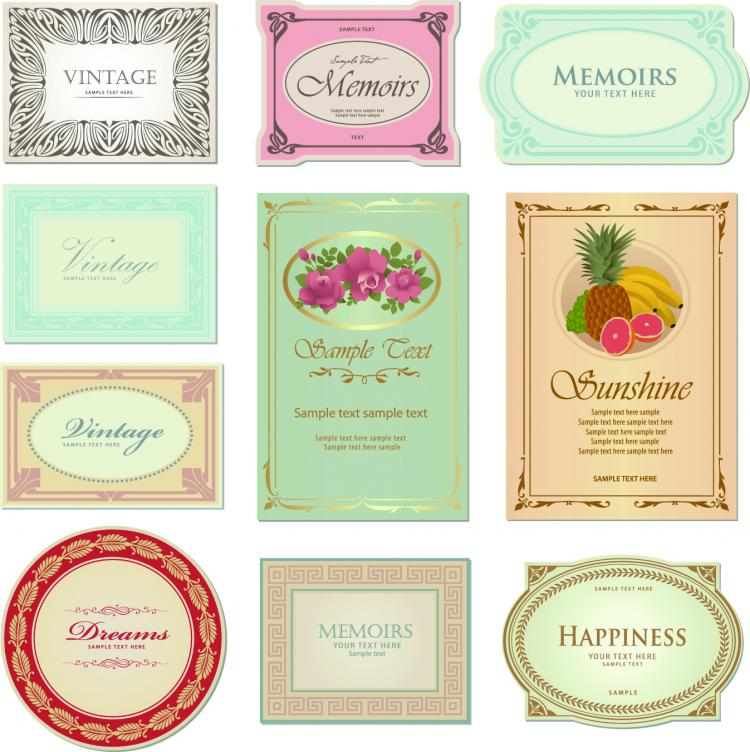 free vector Gorgeous classic bottle label 04 vector