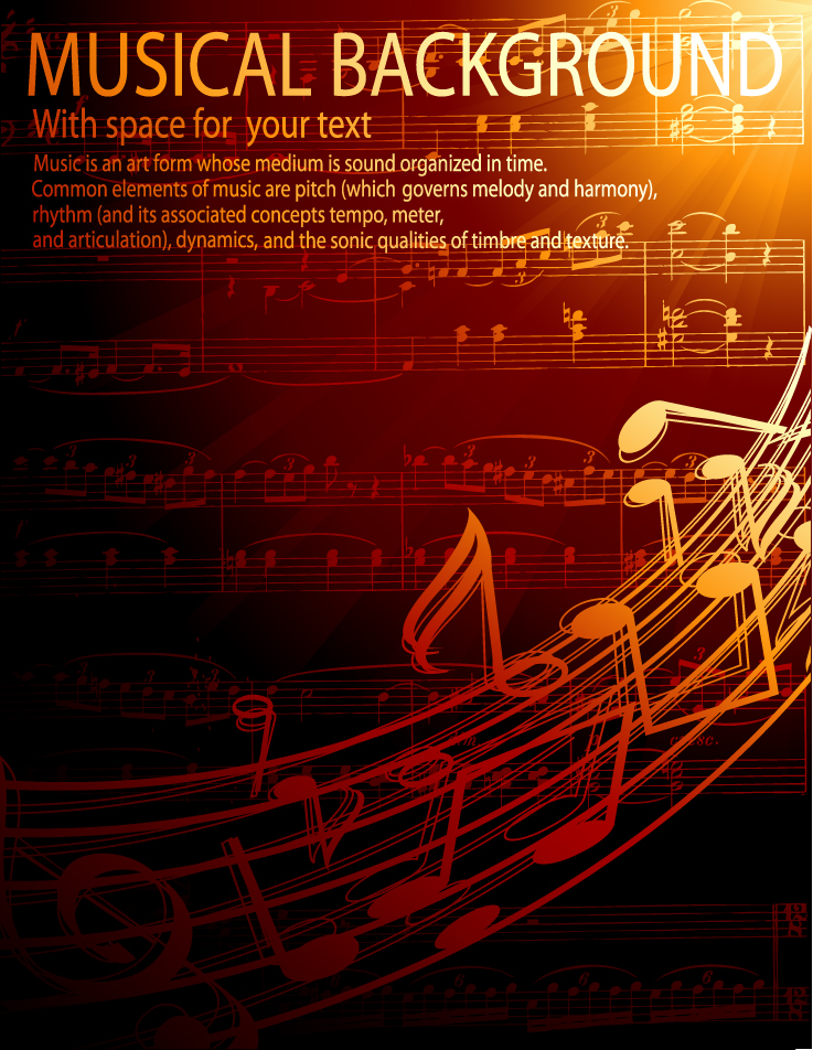 free vector Gorgeous classical music background 02 vector