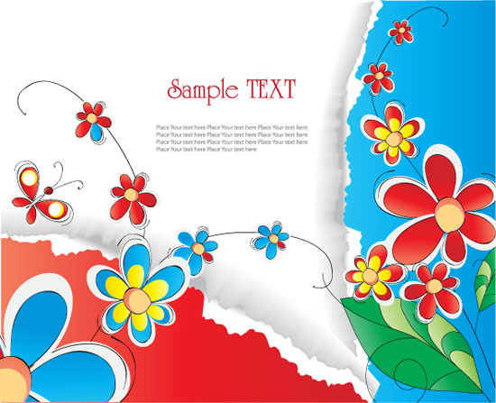 free vector Gorgeous flowers and tear background vector