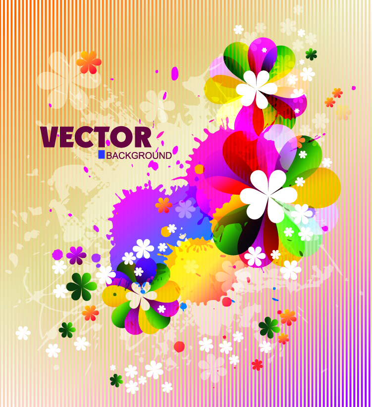free vector Gorgeous flowers shading 02 vector