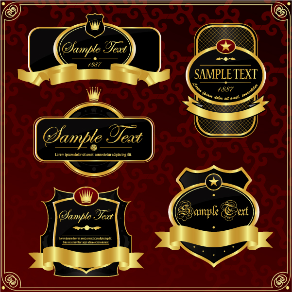 free vector Gorgeous gold label vector 2