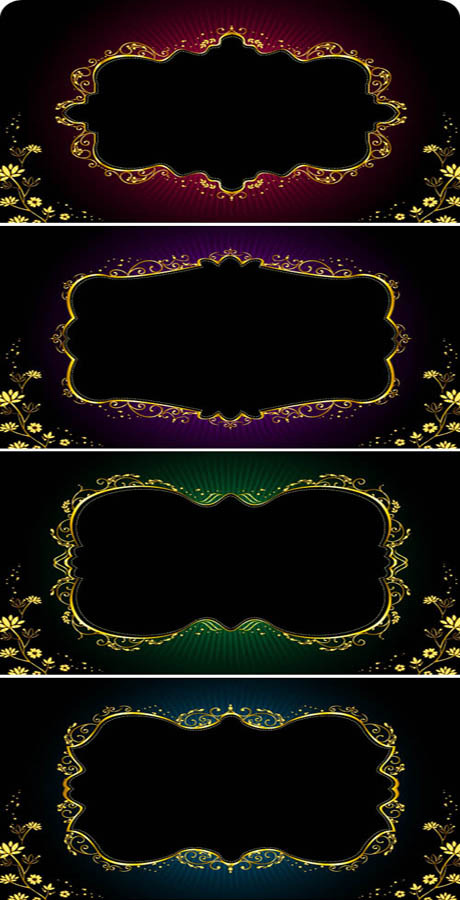 free vector Gorgeous gold lace vector 6201