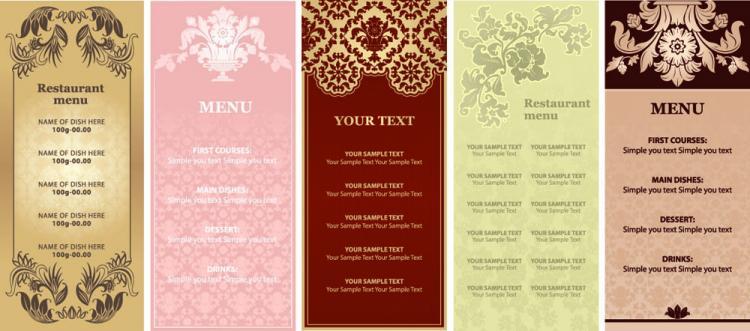 free vector Gorgeous restaurant menu vector