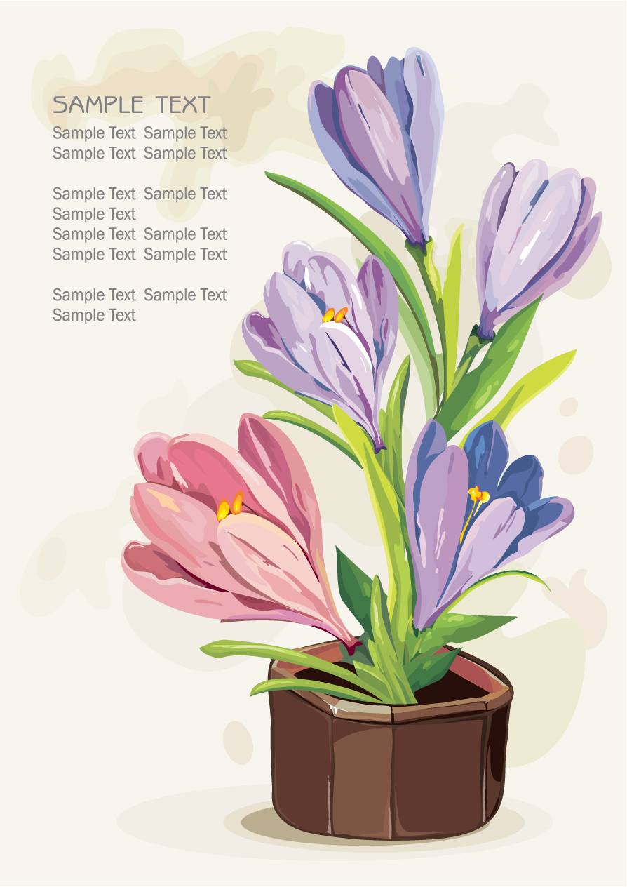free vector Gouache flowers 02 vector