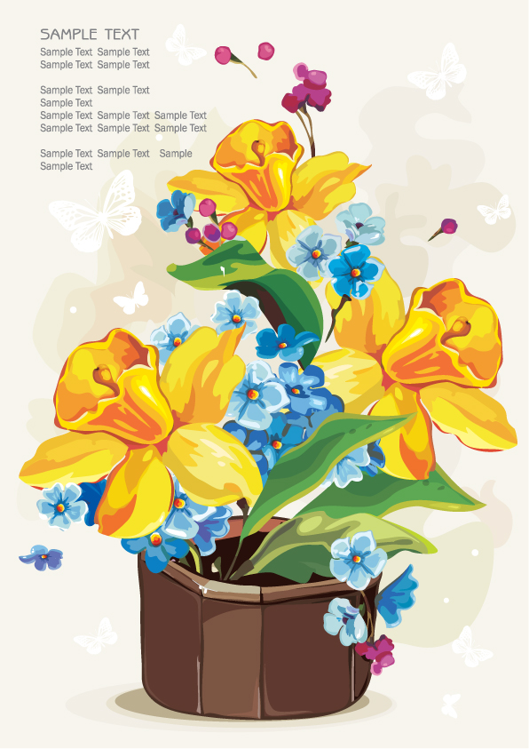 free vector Gouache flowers 04 vector