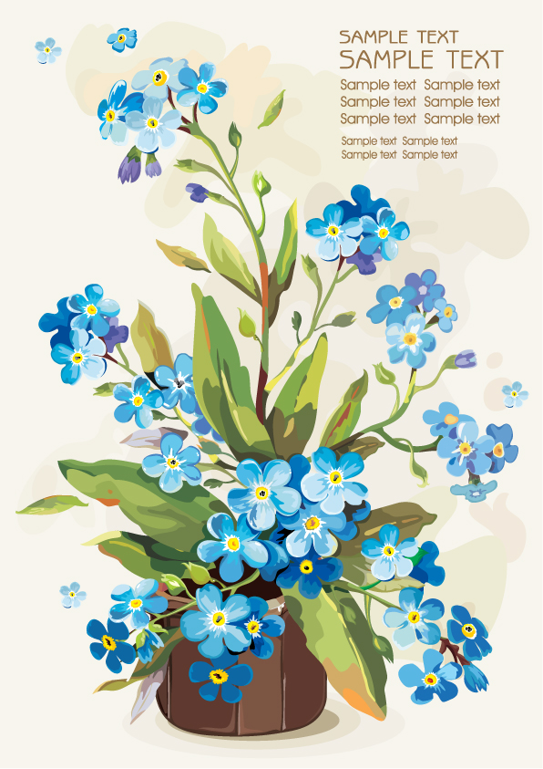 free vector Gouache flowers 05 vector
