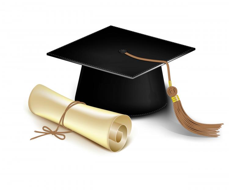 graduation cap and diploma vector free vector