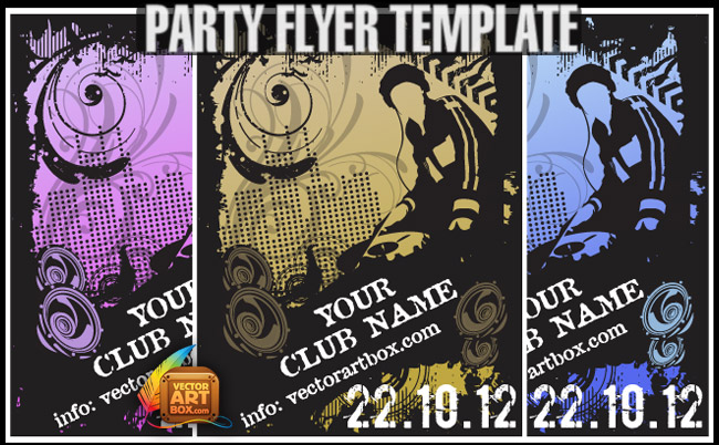 free vector Great Free Vector Flyer Template For Party