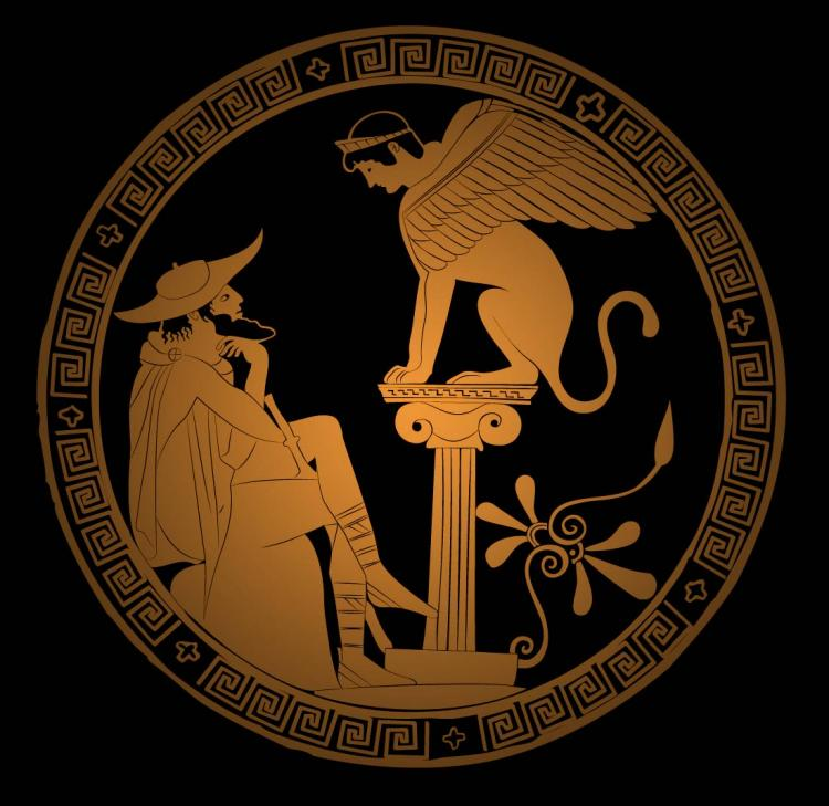 free vector Greek Vector Ancient Illustration / Oedipus and Sphinx