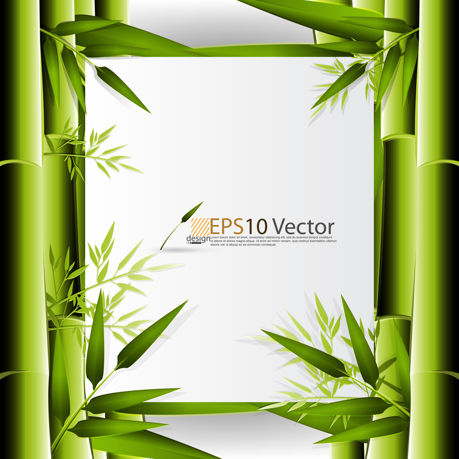 Green bamboo background text template vector 1 Free Vector