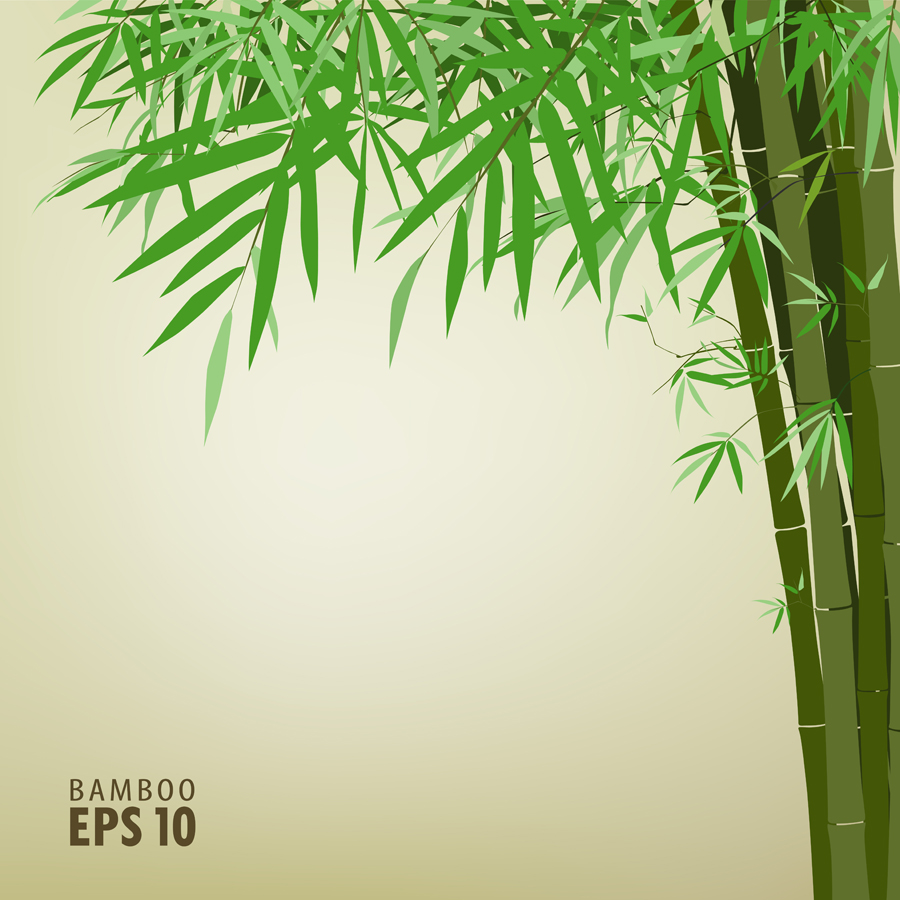free vector Green bamboo background text template vector 2