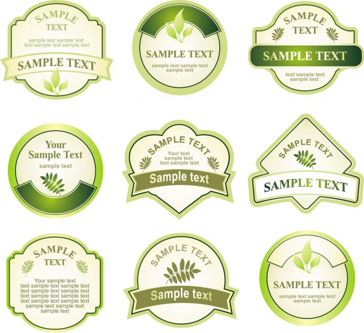 Green bottle label vector Free Vector / 4Vector