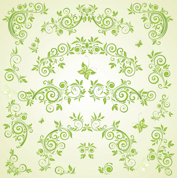free vector Green butterfly european pattern vector