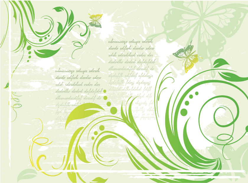 free vector Green butterfly pattern vector