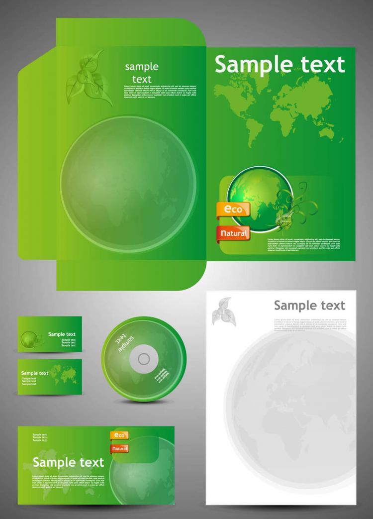 free vector Green card template 05 vector