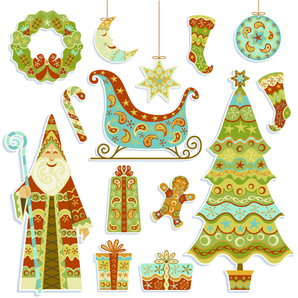 free vector Green cartoon christmas element vector