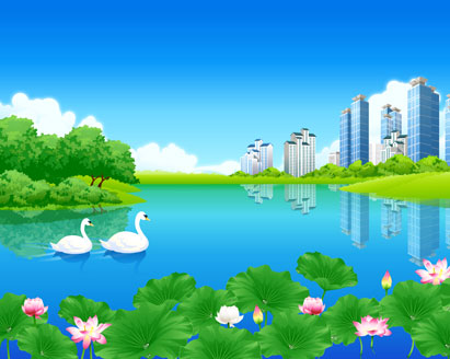 free vector Green City Landscape Animals Backgrounds Tree