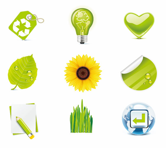 free vector Green Eco Vector Icons