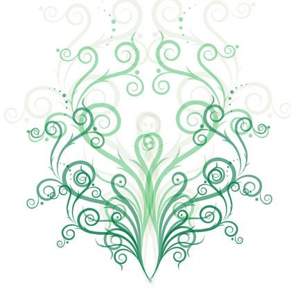 free vector Green Fashion Floral Vector