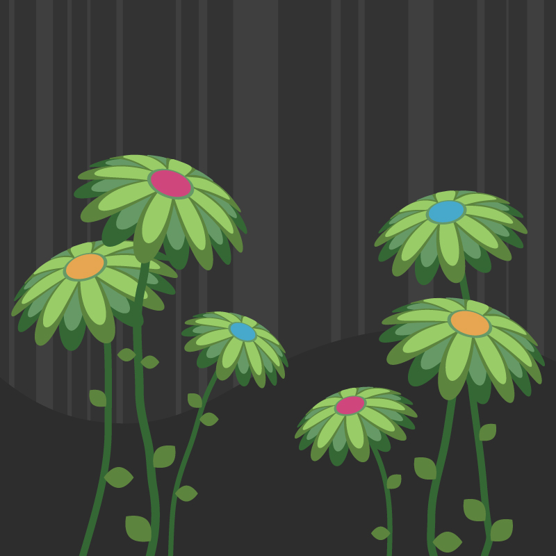 free vector Green flowers vector