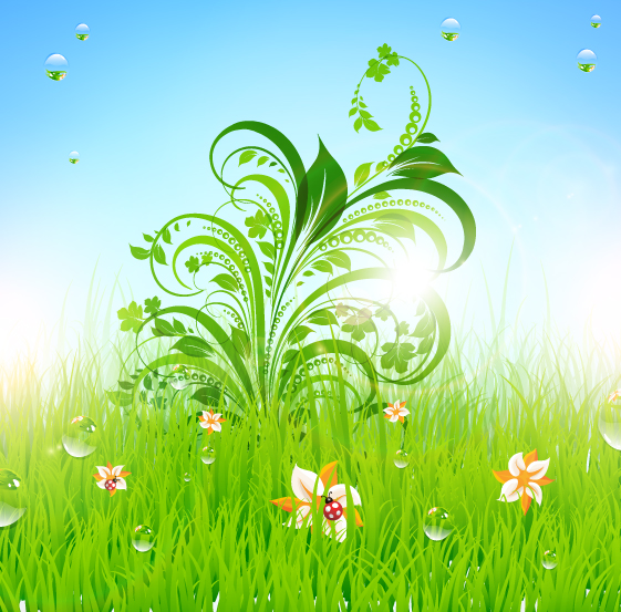 free vector Green grass pattern 01 vector