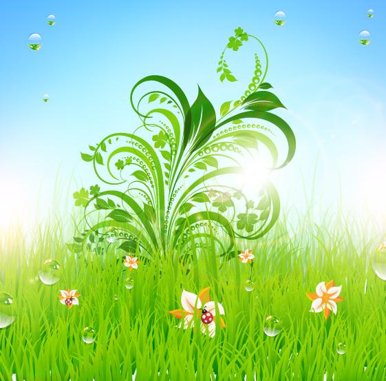 free vector Green grass pattern 01 vector