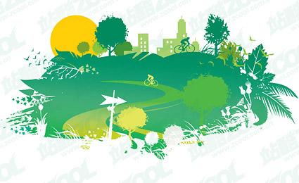 free vector Green homes vector material