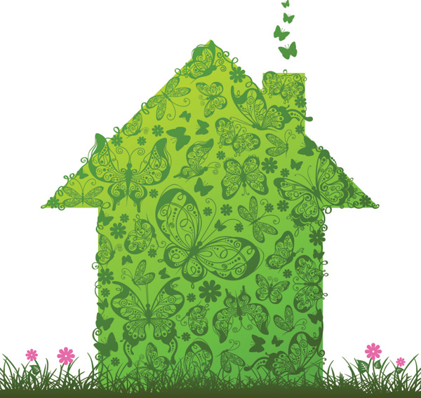free vector Green house and box vector