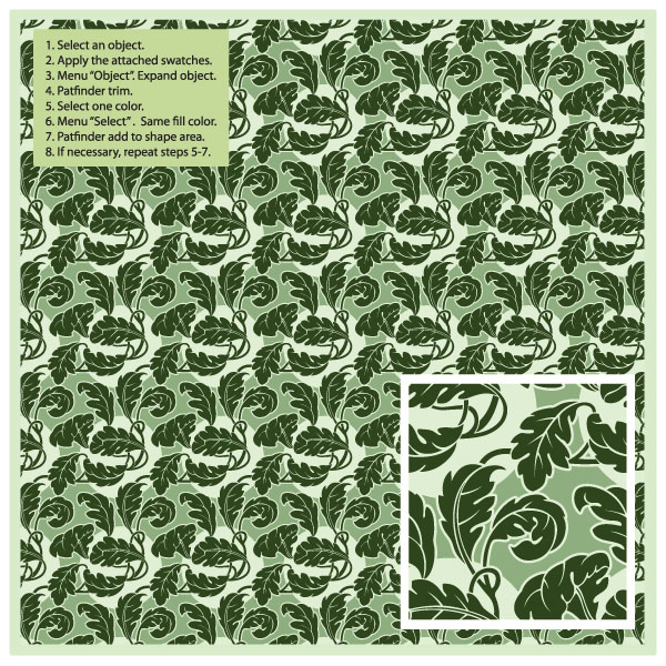 free vector Green leaf pattern vector