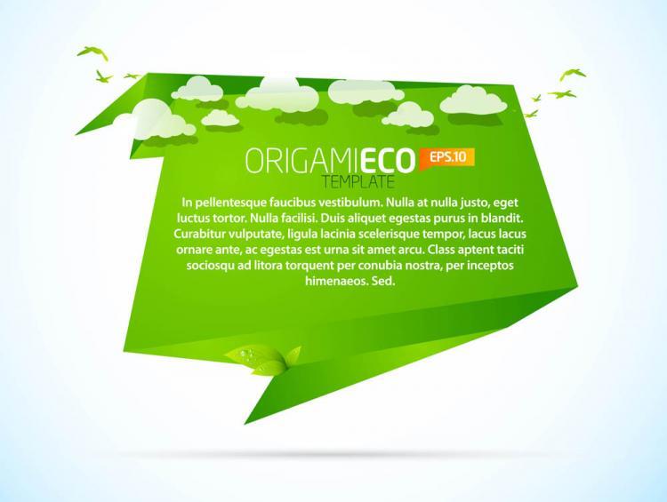 free vector Green origami animals 03 vector