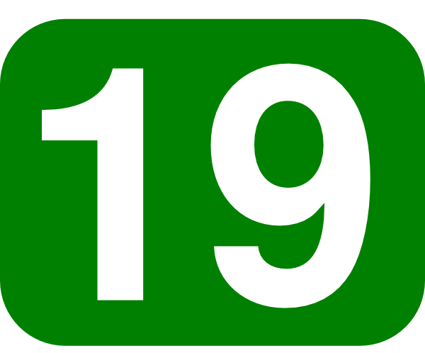 Number Nineteen Green Rounded Rectangl...