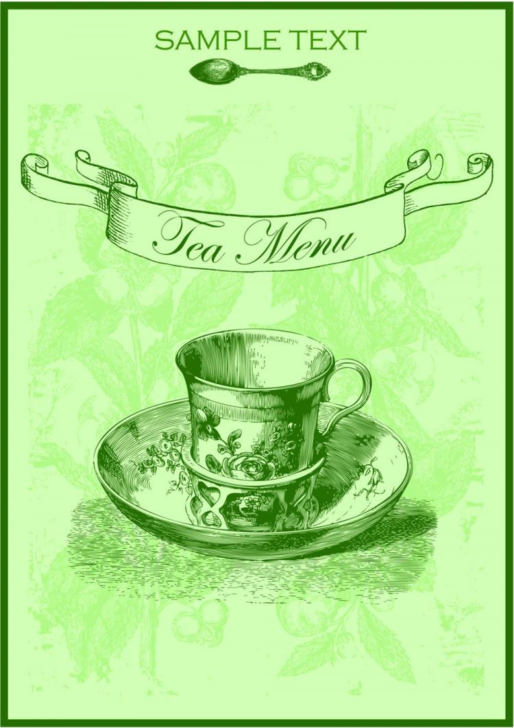 free vector Green tea menu 01 vector