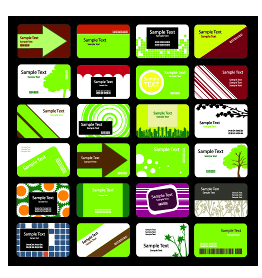 free vector Green theme card template vector